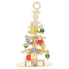 Vintage Decorated Christmas Tree Charm - 14k Yellow Gold Pendant Glass Beads