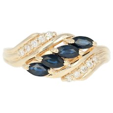 Sapphire & Diamond Bypass Ring - 14k Yellow Gold Marquise Brilliant .73ctw