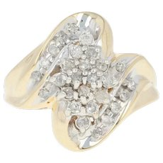 Diamond Cluster Bypass Ring - 10k Yellow Gold Round Brilliant .38ctw