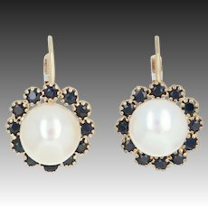 Cultured Button Pearl & Sapphire Halo Earrings -14k Gold Round Brilliant 1.10ctw