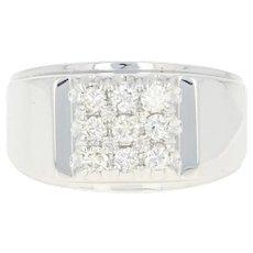 Men's Diamond Ring - 14k White Gold Size 7 1/4 Round Brilliant .50ctw