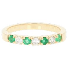 Emerald & Diamond Band Ring - 14k Yellow Gold Round Brilliant .43ctw