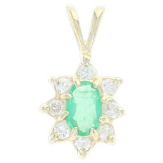 Emerald & Diamond Halo Pendant - 14k Yellow Gold Oval Round Brilliant .25ctw