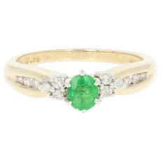 Tsavorite Garnet & Diamond Ring - 14k Gold Engagement Round Brilliant .64ctw