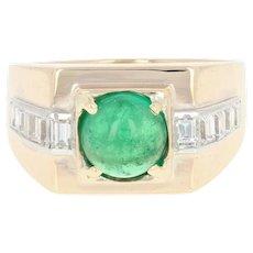 Men's Emerald & Diamond Ring - 14k Yellow Gold Cabochon 2.18ctw
