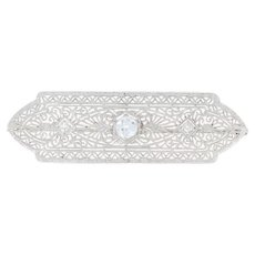 Art Deco Diamond Brooch - 14k White Gold Vintage Filigree European Cut .44ctw