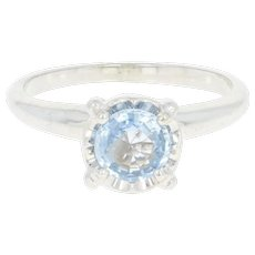 Vintage Sapphire Solitaire Ring - 14k White Gold Engagement Round 1.28ct