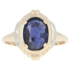 Vintage Iolite Solitaire Ring - 14k Yellow Gold Oval 1.85ct