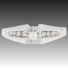Diamond Halo Engagement Ring - 14k White Gold Open Cut Round Brilliant .20ctw