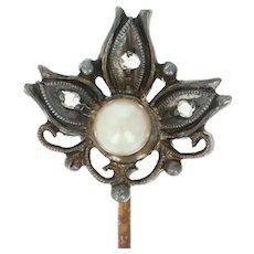 Victorian Pearl & Diamond Stickpin - 14k Gold & Silver Antique