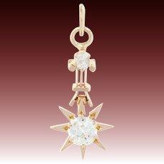 Victorian Diamond Star & Column Pendant - 14k Rose Gold Cushion Mine Cut .43ctw