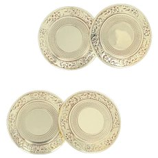 Art Deco Cufflinks - 14k Yellow Gold Etched Floral Discs Vintage Men's Gift