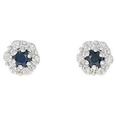 Sapphire & Diamond Halo Earrings - 14k Gold Pierced Round Brilliant .36ctw