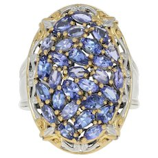 Tanzanite Cluster Cocktail Ring -Sterling Silver Gold Plated 11 3/4 Oval 4.25ctw