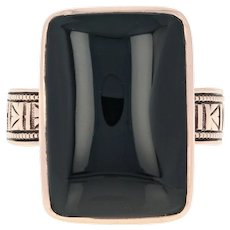 Victorian Onyx Ring - 10k Rose Gold Size 6 - 6 1/4 Women's Antique