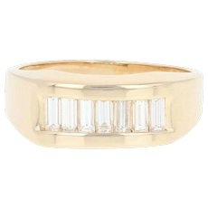 Men's Diamond Ring - 14k Yellow Gold Baguette 1.00ctw