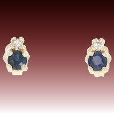 Sapphire & Diamond Stud Earrings -14k Yellow Gold Round Brilliant Pierced .30ctw