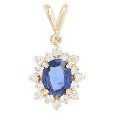 Sapphire & Diamond Halo Pendant - 14k Yellow Gold Oval Brilliant 1.23ctw