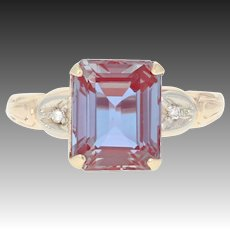 Vintage Synthetic Alexandrite & Diamond Ring - 10k Yellow Gold 4.25ctw