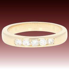 Diamond Wedding Band - 14k Yellow Gold Ring Size 4 3/4 Round Brilliant .20ctw