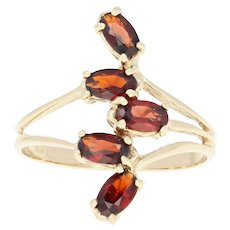 Garnet Bypass Ring - 14k Yellow Gold Size 8 Oval Brilliant 1.20ctw