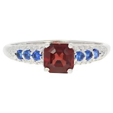 Garnet, Synthetic Sapphire, & Diamond Ring - 10k Gold Step Cut Square 1.66ctw
