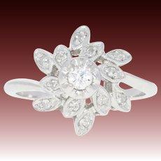 Vintage Diamond Flower Ring - 14k Gold Bypass Milgrain Round Brilliant .25ctw