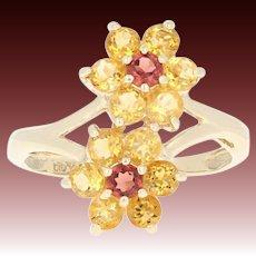 Citrine & Garnet Flower Bypass Ring - 10k Gold Halo Round Brilliant 1.35ctw