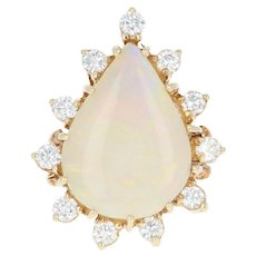 Opal & Diamond Halo Cocktail Ring - 14k Yellow Gold Pear Cabochon .60ctw