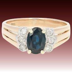 Sapphire & Diamond Ring - 14k Yellow Gold Oval Brilliant 1.12ctw