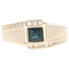 Men's Sapphire & Diamond Ring - 14k Gold Bypass Step Cut Square 1.00ctw