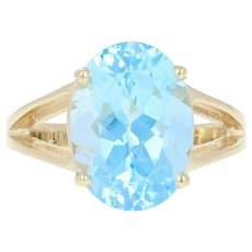 Blue Topaz Solitaire Cocktail Ring - 10k Yellow Gold Oval Brilliant 7.25ct