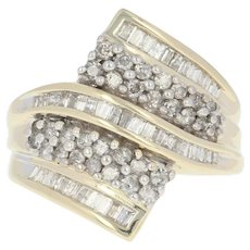Diamond Bypass Ring - 10k Yellow Gold Round Brilliant Baguette 1.00ctw