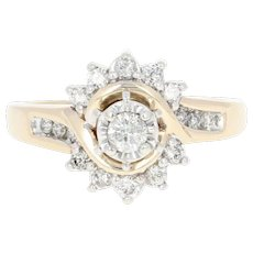 Diamond Engagement Ring - 14k Yellow Gold Bypass Round Brilliant .38ctw