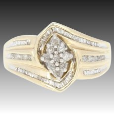 Diamond Cluster Bypass Ring - 10k Yellow Gold Round Brilliant Baguette .33ctw