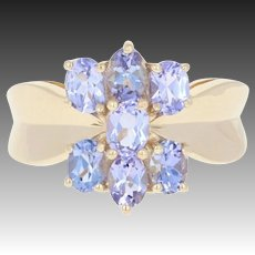 Tanzanite Cluster Ring - 10k Yellow Gold Size 5 1/4 Oval Brilliant 1.20ctw