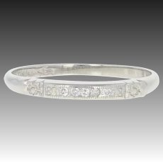 Art Deco Wedding Band - Platinum Vintage Diamond-Accented Ring Milgrain