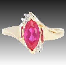 Synthetic Ruby Bypass Ring - 10k Gold Diamond Accents Marquise Brilliant 1.10ct