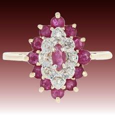 Ruby & Diamond Halo Ring - 10k Yellow Gold Marquise Brilliant 1.24ctw