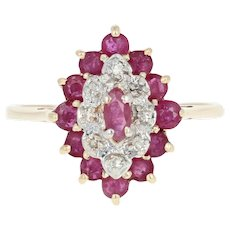 Ruby & Diamond Halo Ring - 10k Yellow Gold Marquise Brilliant 1.24ctw