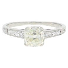 Art Deco Diamond Engagement Ring - Platinum Vintage Old Mine Cushion 1.38ctw