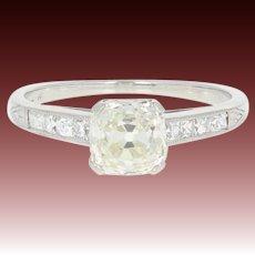 Art Deco Diamond Engagement Ring - Platinum Vintage Old Mine Cushion 1.38ctw