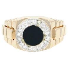 Men's Black Onyx Chalcedony & Diamond Ring -14k Gold Halo Round Brilliant .15ctw
