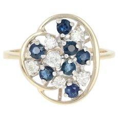 Sapphire & Diamond Cluster Ring - 14k Yellow Gold Round Brilliant .85ctw