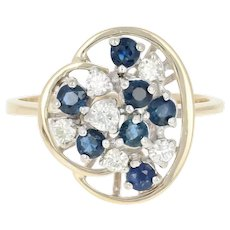 Sapphire & Diamond Cluster Ring - 14k Yellow Gold Round Brilliant .85ctw
