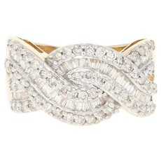 Diamond Woven Ring - 14k Yellow Gold Size 6 Baguette 1.25ctw