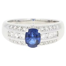 Sapphire & Diamond Ring - 14k White Gold Oval Brilliant 1.45ctw