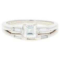 Art Deco Diamond Engagement Ring & Wedding Band 900 Platinum Vintage Carré.66ctw