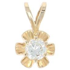 Diamond Solitaire Pendant -14k Yellow Gold Buttercup Mount Round Brilliant .16ct