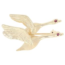 Flying Geese Brooch - 14k Yellow Gold Ruby Accents Migrating Fowl Birds